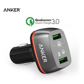 Anker A2224H12 PowerDrive+ 2 Quick Charge 3.0 Smart PowerIQ Technology With 2-Ports USB Fast Car Charger 42 Watt