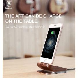 Baseus Duowood Black Aluminum Alloy Desktop Charger Sync Dock Cradle For iphone
