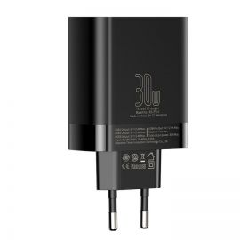 Baseus Mirror Lake Digital Display 4x USB Travel Charger 30W 6A EU black- CCJMHB-B01