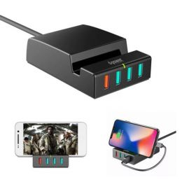D-POWER IP988 6A 4-Port QC3.0 4-port USB Charging Station Dock Stand Charger with LED Light - EU Plug
