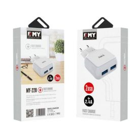 Emy MY-220 Fast Wall Charger With 2 USB Port